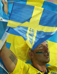 SOCHI, June 23, 2018  A fan of Sweden cheers during the 2018 FIFA World Cup Group F match between Germany and Sweden in Sochi, Russia, June 23, 2018. Germany won 2-1. (Credit Image: © Fei Maohua/Xinhua via ZUMA Wire)