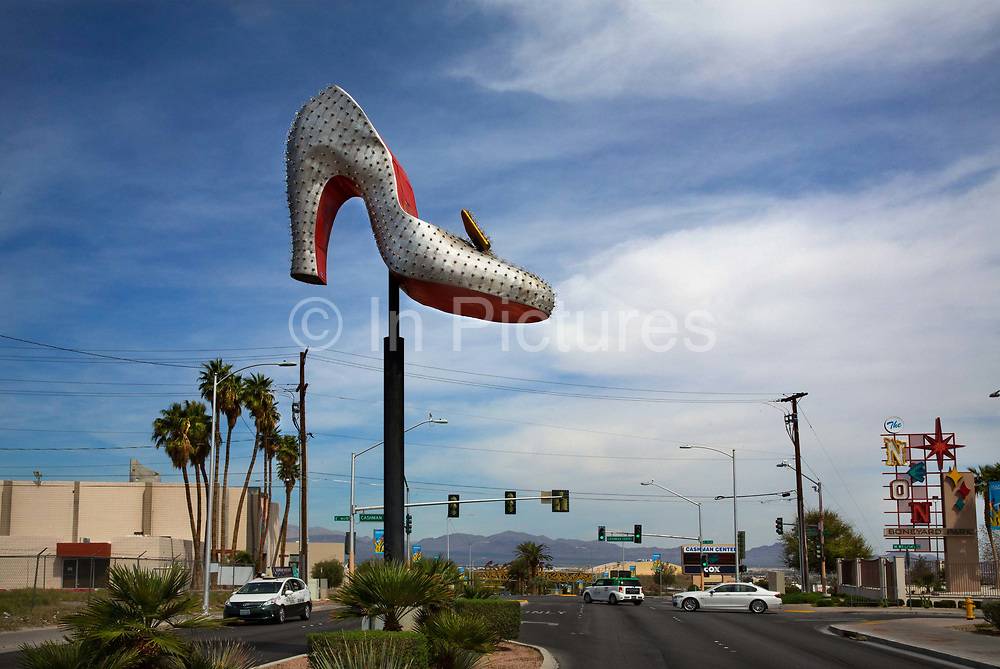 """Part of the Silver Slipper Casino, the enormous sign is now outside the Neon Boneyard in Las Vegas, a museum of the old signage. The Boneyard features more than 150 signs. For many years, the Young Electric Sign Company stored many of these old signs in their """"boneyard."""" The signs were slowly being destroyed by exposure to the elements. While the core of the collection is from the old Yesco Boneyard, private donations and loans have expanded the collection to the current size."""