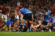 Gareth Davies of Wales ©  barges over to score a try late in 2nd half . Rugby World Cup 2015 pool A match, Wales v Uruguay at the Millennium Stadium in Cardiff, South Wales  on Sunday 20th September 2015.<br /> pic by  Andrew Orchard, Andrew Orchard sports photography.