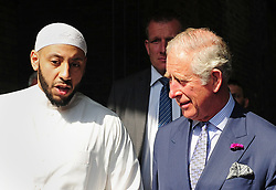 The Prince of Wales (right) speaks to Imam Mohammed Mahmoud as he arrives at Muslim Welfare House in north London to meet members of the local community and hear about the community response following the recent terrorist attack.