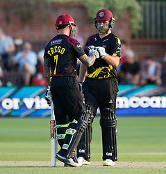 Somerset's Corey Anderson celebrates a boundary <br /> <br /> Photographer Simon King/Replay Images<br /> <br /> Vitality Blast T20 - Round 1 - Somerset v Gloucestershire - Friday 6th July 2018 - Cooper Associates County Ground - Taunton<br /> <br /> World Copyright © Replay Images . All rights reserved. info@replayimages.co.uk - http://replayimages.co.uk