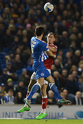Aaron Wilbraham of Bristol City challenges for the header with Lewis Dunk of Brighton & Hove Albion - Mandatory byline: Dougie Allward/JMP - 07966 386802 - 20/10/2015 - FOOTBALL - American Express Community Stadium - Brighton, England - Brighton v Bristol City - Sky Bet Championship