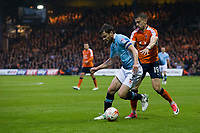 Blackpool's Andy Taylor holds off the challenge from Luton Town's Oliver Lee<br /> <br /> Photographer Craig Mercer/CameraSport<br /> <br /> The EFL Sky Bet League Two Play-Off Semi Final Second Leg - Luton Town v Blackpool - Thursday 18th May 2017 - Kenilworth Road - Luton<br /> <br /> World Copyright © 2017 CameraSport. All rights reserved. 43 Linden Ave. Countesthorpe. Leicester. England. LE8 5PG - Tel: +44 (0) 116 277 4147 - admin@camerasport.com - www.camerasport.com