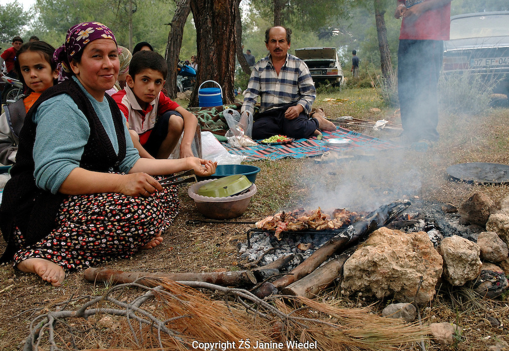 Mother's Day and national picnic day celebration in the forest near Ksantos Southern Turkey.