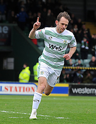 Yeovil Town's James Hayter celebrates his sides goal  - Photo mandatory by-line: Harry Trump/JMP - Mobile: 07966 386802 - 03/04/15 - SPORT - FOOTBALL - Sky Bet League One - Yeovil Town v Chesterfield - Huish Park, Yeovil, England.