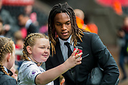 Renato Sanches takes a selfie with a young fan. Premier league match, Swansea city v Leicester city at the Liberty Stadium in Swansea, South Wales on Saturday 21st October 2017.<br /> pic by Aled Llywelyn, Andrew Orchard sports photography.
