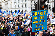 People gathered together in the streets of London to march to parliament and protest against Brexit.