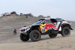 PISCO, Jan. 8, 2018  Sebastien Loeb of France and co-driver Daniel Elena of Monaco compete during the 2018 Dakar Rally Race Stage 2 in Pisco, Peru, on Jan. 7, 2018. Sebastien Loeb and Daniel Elena took the third place of Car race of the stage 2 with 2:59:59.  Xinhua/Li Ming) (Credit Image: © Li Ming/Xinhua via ZUMA Wire)