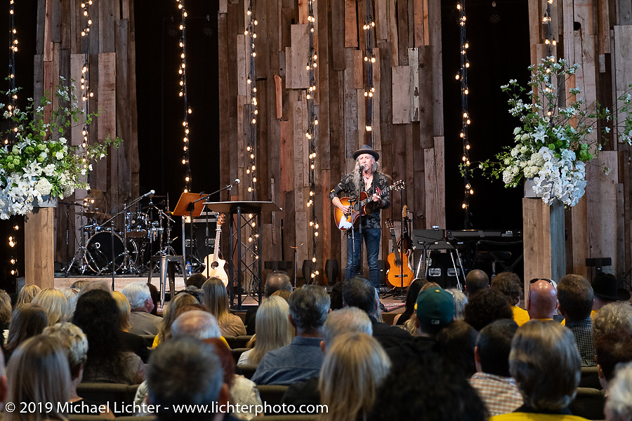 Pat Simmons of the Doobie Brothers, an old friend of Arlen's, sang at the Arlen Ness Memorial - Celebration of Life at the CrossWinds Church, Livermore, CA, USA. Saturday, April 27, 2019. Photography ©2019 Michael Lichter.