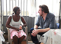 Jonathan Ross Visits Evelyn Bansah aged 30 who was helped by the African Outreach project out of Agbogbloshie  in Accra, Ghana. Jonathan Ross is in Ghana with Comic Relief to mark the 25th anniversary of Red Nose Day. Thirteen Red Nose Days later it has raised over £600million and over the last 25 years that money will have helped 50 million people across Africa, the world's poorest countries and here in the UK. Keep up the good work. rednoseday.com ©Christian Thompson