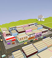Toy town USA with main street stores and suburban home.