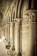Column detail in the abbey cloister, Mont Saint-Michel, Normandy, France