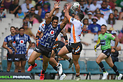 Warriors Roger Tuivasa-Sheck attempts to block a pass in the NRL Trial, Vodafone Warriors v Wests Tigers, Rotorua Stadium, Rotorua, Sunday, March 01, 2020. Copyright photo: Kerry Marshall / www.photosport.nz
