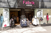 Sale at Farbrik clothes shop bargain prices in Queen Street, Cardiff, South Wales, UK