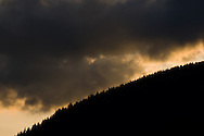 Sunset behind Burke Mountain in Coquitlam, BC.