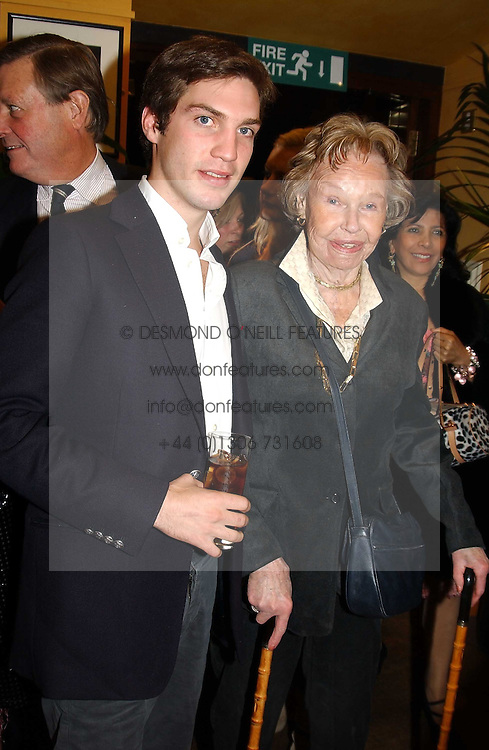 MR WILLIAM AITKEN son of Jonathan Aitken and his grand mother the HON.LADY AITKEN at a pre-screening party of a film by Fiona Sanderson entitled 'The Hunt For Lord Lucan' held at Langans, 254 Old Brompton Road, London SW7 on 8th November 2004.<br /><br />NON EXCLUSIVE - WORLD RIGHTS