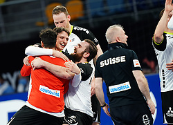 14.01.2021, 6th of October Sports Hall, Gizeh, EGY, IHF WM 2021, Österreich vs Schweiz, Herren, Gruppe E, im Bild Jubel, Alen Milosevic, // during the IHF men's World Championship group E match between Austria and Switzerland at the 6th of October Sports Hall in Gizeh, Egypt on 2021/01/14. EXPA Pictures © 2020, PhotoCredit: EXPA/ Diener/Eva Manhart<br /> <br /> *****ATTENTION - OUT of AUT and SUI*****