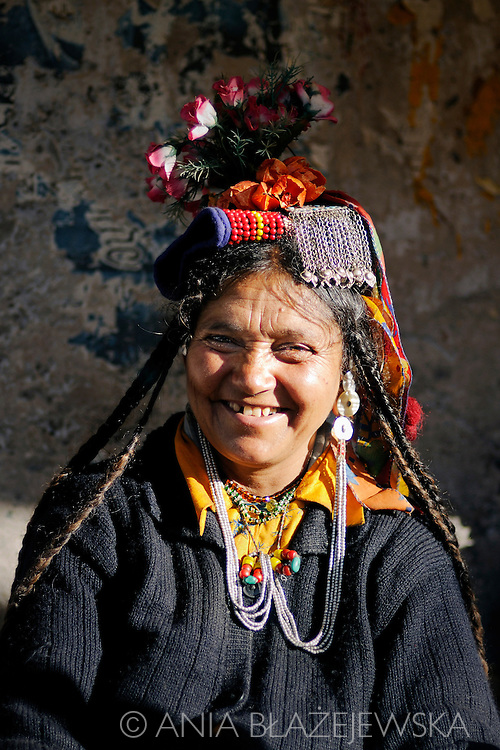 India, Ladakh. Smiling Drokpa woman.