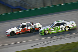 July 13, 2018 - Sparta, Kentucky, United States of America - John Hunter Nemechek (42) and Austin Cindric (12) battle for position during the Alsco 300 at Kentucky Speedway in Sparta, Kentucky. (Credit Image: © Chris Owens Asp Inc/ASP via ZUMA Wire)