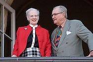 16.04.13. Copenhagen, Denmark.Queen Margrethe II celebrates her 73th birthday with her whole family, From left to right, Queen Margrethe II and Prince Henrik. The royal family appears on the balcony of Christian IX's Palace at Amalienborg Palace.Photo: © Ricardo Ramirez