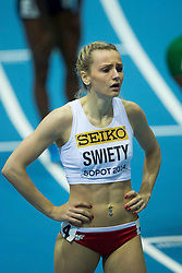 07.03.2014, Ergo Arena, Sopot, POL, IAAF, Leichtathletik Indoor WM, Sopot 2014, Tag 1, im Bild JUSTYNA SWIETY BIEG NA 400 M // JUSTYNA SWIETY BIEG NA 400 M during day one of IAAF World Indoor Championships Sopot 2014 at the Ergo Arena in Sopot, Poland on 2014/03/07. EXPA Pictures © 2014, PhotoCredit: EXPA/ Newspix/ Radoslaw Jozwiak<br /> <br /> *****ATTENTION - for AUT, SLO, CRO, SRB, BIH, MAZ, TUR, SUI, SWE only*****