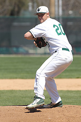 11 April 2015:  John Munyon during an NCAA division 3 College Conference of Illinois and Wisconsin (CCIW) Pay in Baseball game during the Conference Championship series between the Millikin Big Blue and the Illinois Wesleyan Titans at Jack Horenberger Stadium, Bloomington IL
