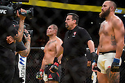 LAS VEGAS, NV - JULY 9:  Cain Velasquez celebrates after defeating Travis Browne during UFC 200 at T-Mobile Arena on July 9, 2016 in Las Vegas, Nevada. (Photo by Cooper Neill/Zuffa LLC/Zuffa LLC via Getty Images) *** Local Caption *** Cain Velasquez