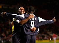 Photo: Daniel Hambury.<br />Charlton Athletic v Manchester City. Barclays Premiership.<br />04/12/2005.<br />City's Trevor Sinclair celebrates with fifth goal scorer Andrew Cole.