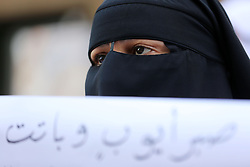 April 29, 2017 - Gaza, Palestine - Palestinian women hold placards during a protest demanding end an Israeli blockade of the Gaza Strip, at Al-Shifa hospital in Gaza City on April 29, 2017. (Credit Image: © Momen Faiz/NurPhoto via ZUMA Press)