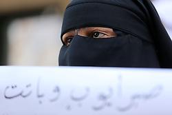April 29, 2017 - Gaza, Palestine - Palestinian women hold placards during a protest demanding end an Israeli blockade of the Gaza Strip, at Al-Shifa hospital in Gaza City on April 29, 2017. (Credit Image: © Momen Faiz/NurPhoto via ZUMA Press)