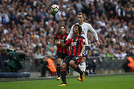 Nathan Ake looks at the ball in preparation to clear.<br /> Premier league match, Tottenham Hotspur v AFC Bournemouth at Wembley Stadium in London on Saturday 14th October 2017.<br /> pic by Kieran Clarke, Andrew Orchard sports photography.