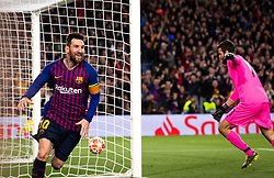 BARCELONA, May 2, 2019  FC Barcelona's Lionel Messi (L) celebrates after scoring during the UEFA Champions League semifinal first leg soccer match between FC Barcelona and Liverpool in Barcelona, Spain, on May 1, 2019. Barcelona won 3-0. (Credit Image: © Joan Gosa/Xinhua via ZUMA Wire)