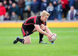 Ulster Ravens' Stuart Olding prepares to take the conversion after Ulster Ravens' Roger Wilson scores a try - Photo mandatory by-line: Dougie Allward/JMP  - Tel: Mobile:07966 386802 21/10/2012 - SPORT - Rugby Union - British and Irish Cup -  Bristol  - The Memorial Stadium - Bristol Rugby V Ulster Ravens