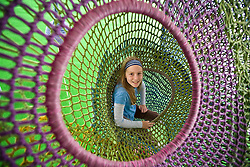 Asia, Japan, Kanagawa prefecture, Hakone, Open Air Museum, girl (age 10) climbing in Castle of Nets by Toshiko Horiuchi, MR but not PR
