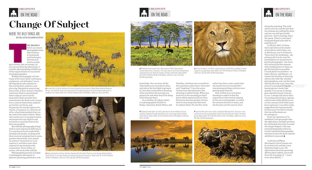 """May 2014 Shutterbug Magazine contains Blaine Harrington's bi-monthly column """"On the Road"""", this one titled """"Change of Subject"""". The column discusses photographing wildlife and in particular, shooting on safari in Africa"""