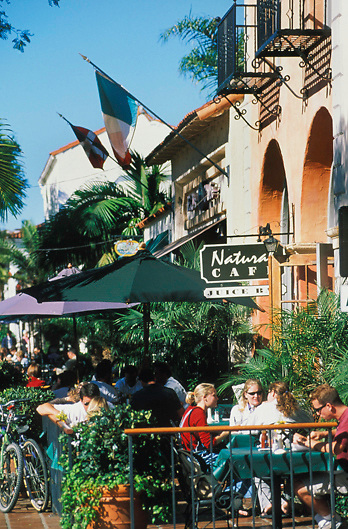 People Dine on State Street for lunch at the Natural Cafe on State Street in Santa Barbara California