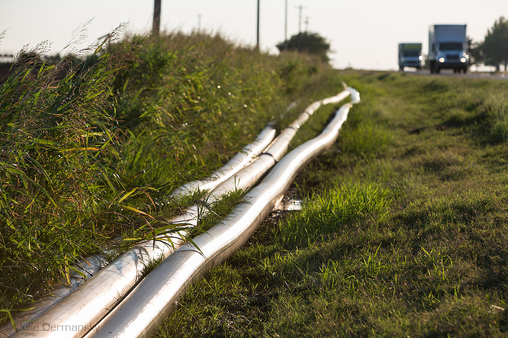 Temporary waterlines leading to a fracking industry site in Kingfisher County Oklahoma.