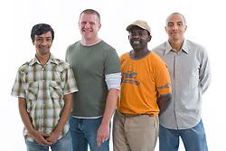 Multiracial group of men in the studio,