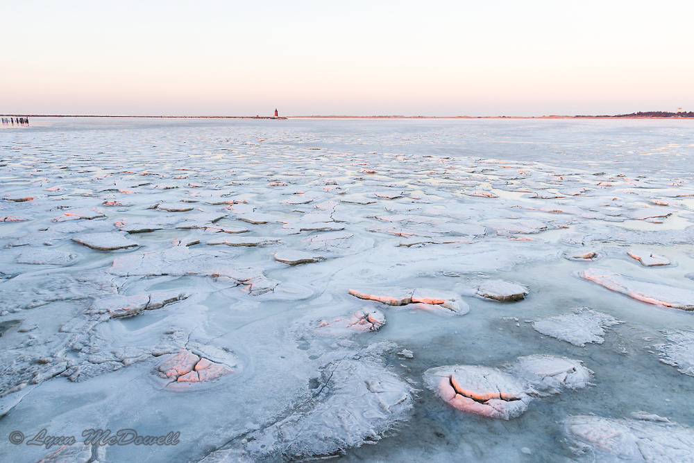 Beauty of ice patterns of frozen Delaware Bay in 2018 at Cape Henlopen State Park