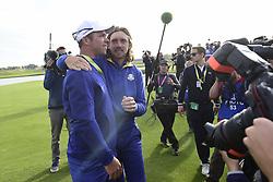 September 30, 2018 - Guyancourt, France, France - joie de Paul Casey of England (Team Europ) et de Tommy Fleetwood of England  (Credit Image: © Panoramic via ZUMA Press)