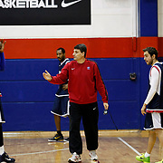 Efers Pilsen's coach Velimir PERASOVIC (C) and Erwin DUDLEY (L), Ender ARSLAN (2ndR) seen during their Turkish basketbol team Efes Pilsen training at the Efes Pilsen training center in Istanbul Turkey on Sunday 13 February 2011. Photo by TURKPIX