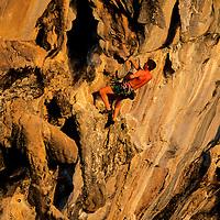 Wolfgang Haupolter climbing Stalagasaurus, 6a+, Tonsai Beach, Thailand