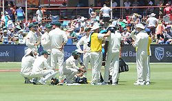Pretoria 26-12-18. The 1st of three 5 day cricket Tests, South Africa vs Pakistan at SuperSport Park, Centurion. Day 1. South African team have a drinks break as temperatures went over 35 deg Celcius. <br /> Picture: Karen Sandison/African News Agency(ANA)