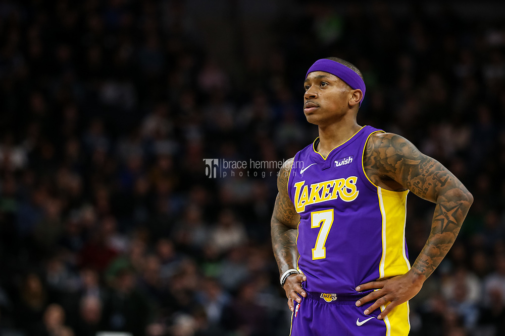 Feb 15, 2018; Minneapolis, MN, USA; Los Angeles Lakers guard Isaiah Thomas (7) looks on during the second quarter against the Minnesota Timberwolves at Target Center. Mandatory Credit: Brace Hemmelgarn-USA TODAY Sports