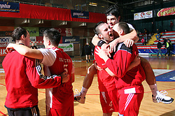 Peter Hrvatin (R) celebrates after 15th round of Slovenian Handball MIK 1st league match between RD Slovan and RK Celje Pivovarna Lasko, on February 6, 2009, in Kodeljevo, Ljubljana, Slovenia. Win of RK Slovan 18:17. (Photo by Vid Ponikvar / Sportida)
