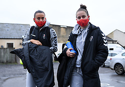 Laura Rafferty of Bristol City Women and Ella Mastrantonio of Bristol City Women arrives at Twerton Park prior to kick off - Mandatory by-line: Ryan Hiscott/JMP - 13/12/2020 - FOOTBALL - Twerton Park - Bath, England - Bristol City Women v West Ham United Women - Barclays FA Women's Super League