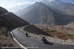 Scotty Busch and Rip Rolfsen head up to 12,000' at the end of day-5  of our Himalayan Heroes adventure riding from Kalopani through the Mustang District to Muktinath, Nepal. Saturday, November 10, 2018. Photography ©2018 Michael Lichter.