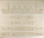"Titanic's original 1912 building plans with hand-drawn notations to describe the catastrophic event up for auction<br /> <br /> Prepared exclusively for the official British enquiry — chilling illustrations used to explain the ""unthinkable""<br />  <br /> BOSTON, MA. — RR Auction will feature the Titanic's original building plans that include hand-drawn notations, used during the official British enquiry into the most devastating maritime tragedy in history in its upcoming Titanic themed auction, later this month.<br />  <br /> The original cross-section and building plans for the RMS Titanic, drawn to a scale of 1/32 inches to one foot, and rubber stamped by Harland and Wolff, with a handwritten date within the stamp of May 1, 1912. The plans would be used during British enquiry to demonstrate to the world what had happened on the fateful evening, just before midnight on April 14, 1912— when the largest passenger ship ever assembled struck an iceberg.  <br />  <br /> The most remarkable features of this plan are the two crucial hand-drawn elements; a hand-drawn gash in the side of the ship at Boiler #6, where the iceberg hit and extensions drawn over the watertight bulkheads were not built high enough for such an occurrence.<br />  <br /> The building plan clearly shows why the ""unsinkable"" ship would succumb to a direct hit that night in the ice fields of the North Atlantic—the location of the strike allowed water to enter the ship right at the point at which she could no longer stay afloat.<br />  <br /> The official enquiry by the British Wreck Commissioner into the sinking of the Titanic was convened in London on May 2, 1912, and presided over by High Court Judge Lord Mersey. Spanning over two months, Mersey, lawyers, experts in shipbuilding and marine law questioned and listened to testimony from over 100 witnesses. Concluding on July 3, 1912, the final report was issued on July 30, stating that the sinking was the result of the ship's collision with the iceberg, and not due to any design flaws with the"