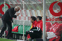 """PORTUGAL - LISBOA 08 JANUARY 2005: Benfica coach GEOVANI TRAPATTONI speaks to his players on the bench, in the 16¼ leg of the Super Liga, season 2004/2005, match  Sporting CP vs SL Benfica (2 - 1), held in """"Alvalade XXI"""" stadium,  08/01/2005  22:20:27<br />(PHOTO BY: NUNO ALEGRIA/AFCD)<br /><br />PORTUGAL OUT, PARTNER COUNTRY ONLY, ARCHIVE OUT, EDITORIAL USE ONLY, CREDIT LINE IS MANDATORY<br /> AFCD-PHOTO AGENCY 2005 © ALL RIGHTS RESERVED"""