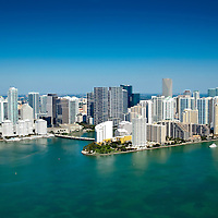 Aerial view of Miami skyline concentated area of high rise buildings with Brickell Key.